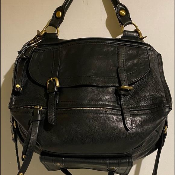 Sabina black leather crossbody handbag
